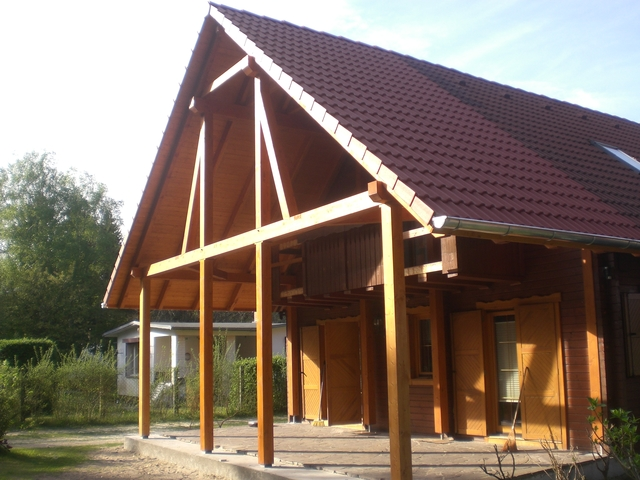 Zimmerei korth dachverl ngerung auf edeler for Holzkonstruktion carport